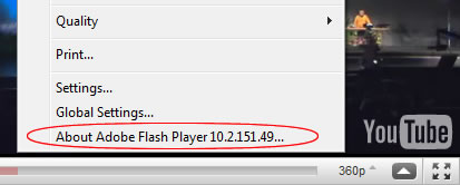 Flash Player version in context menu